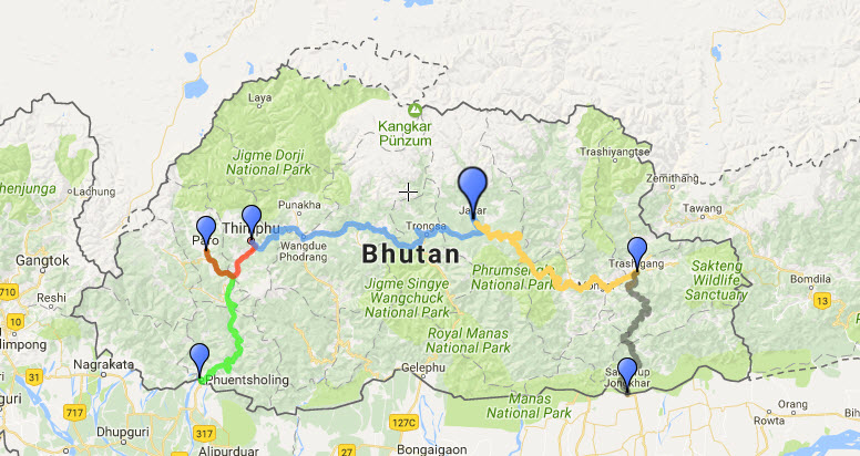 route for bhutan