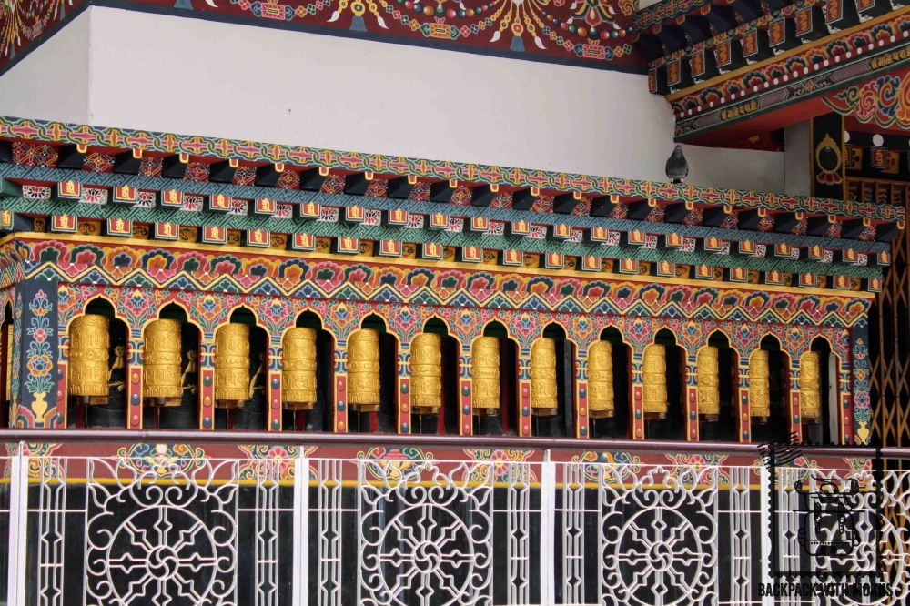 Prayer wheels in a monastery