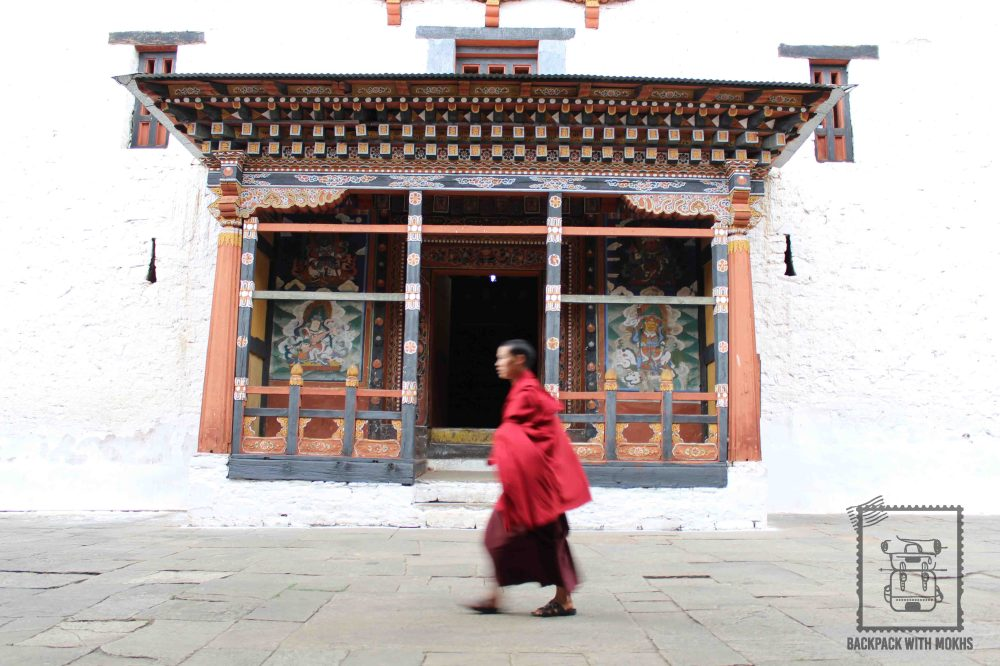 Monk walk by at the Dzong