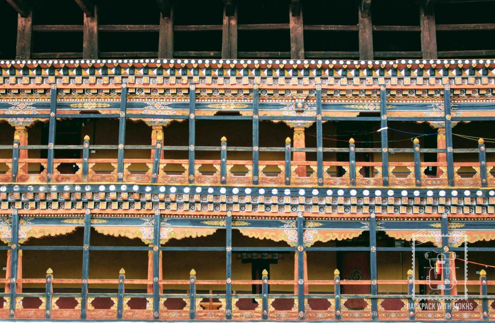 The interiors of the dzong are wooden and hand painted
