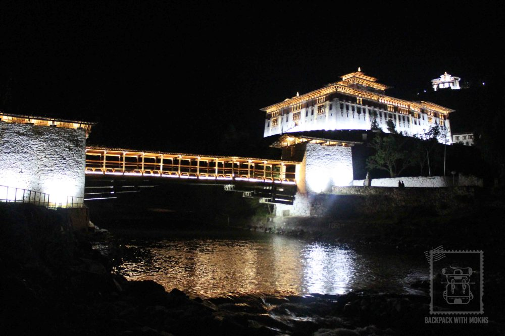 Paro Dzong lit up at night