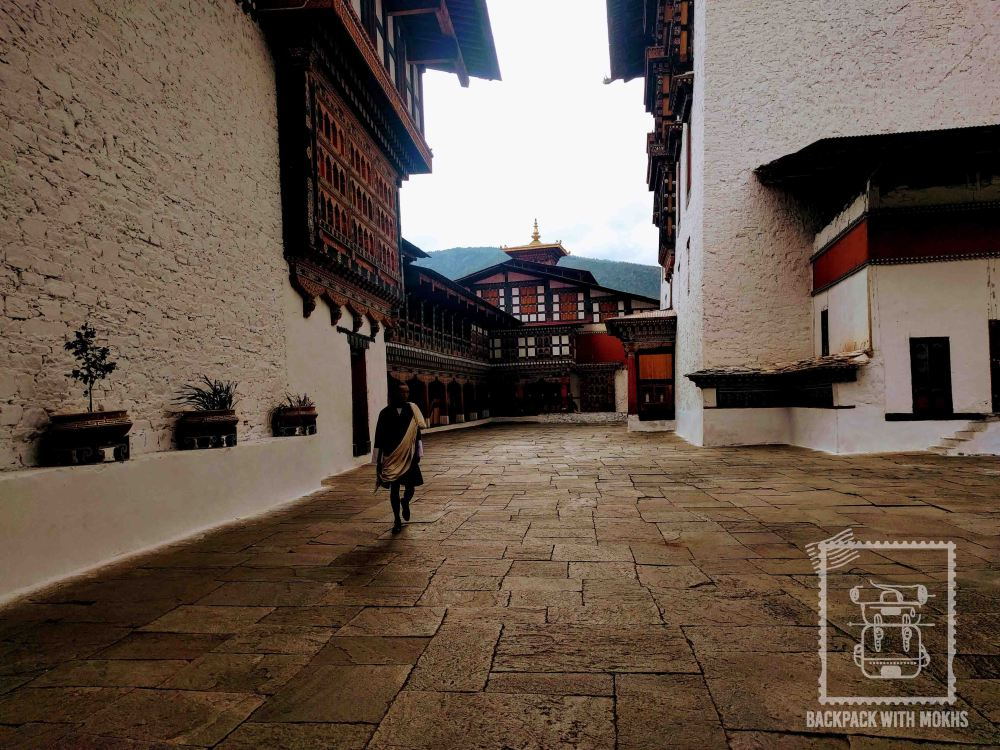 Empty Paro Dzong. Occasional monks/officers walk by.