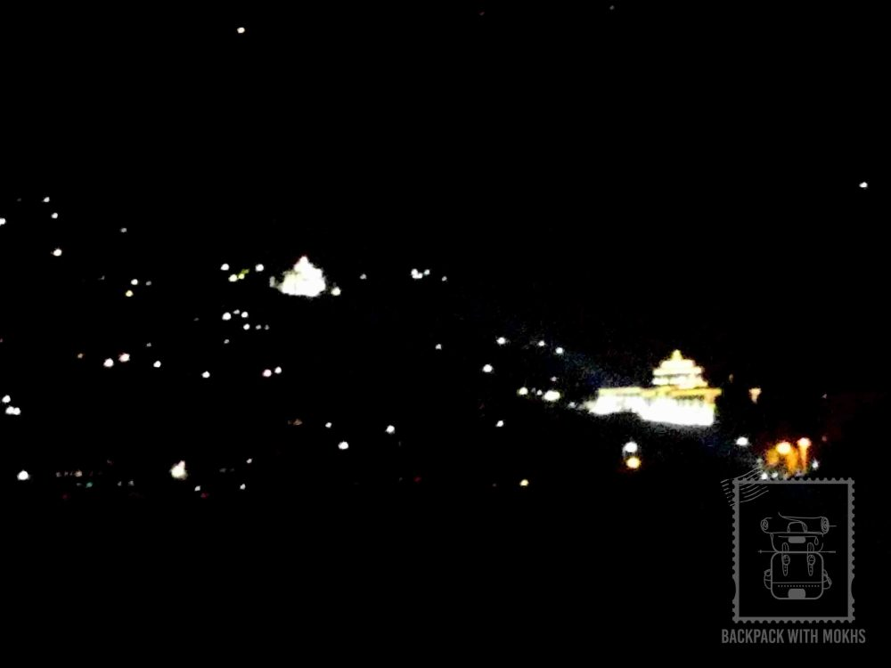 Paro dzong from distance at night