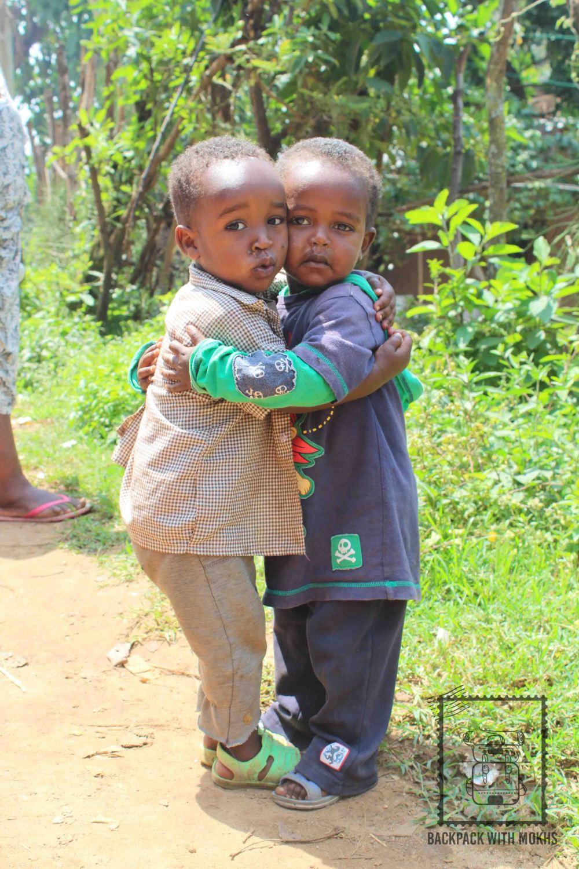 2 boys hugging