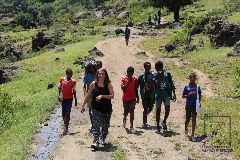children following Enya
