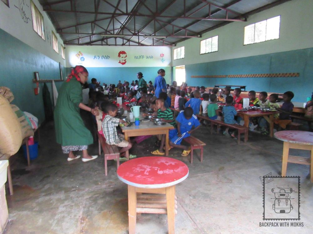 Free meal programme dining hall with children