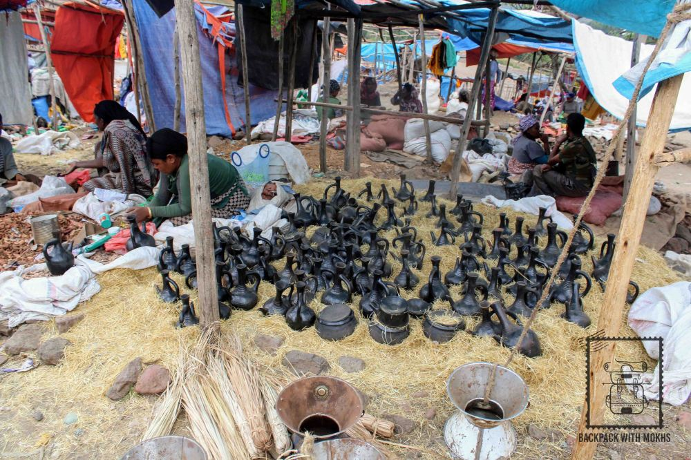Jabenas or coffee pots being sold in the market