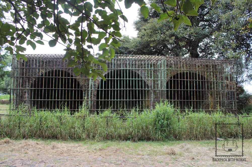 lion cages in the castle