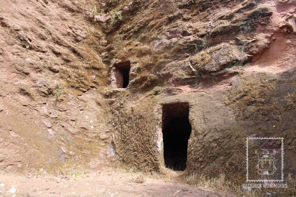 small caves in the walls in lalibela