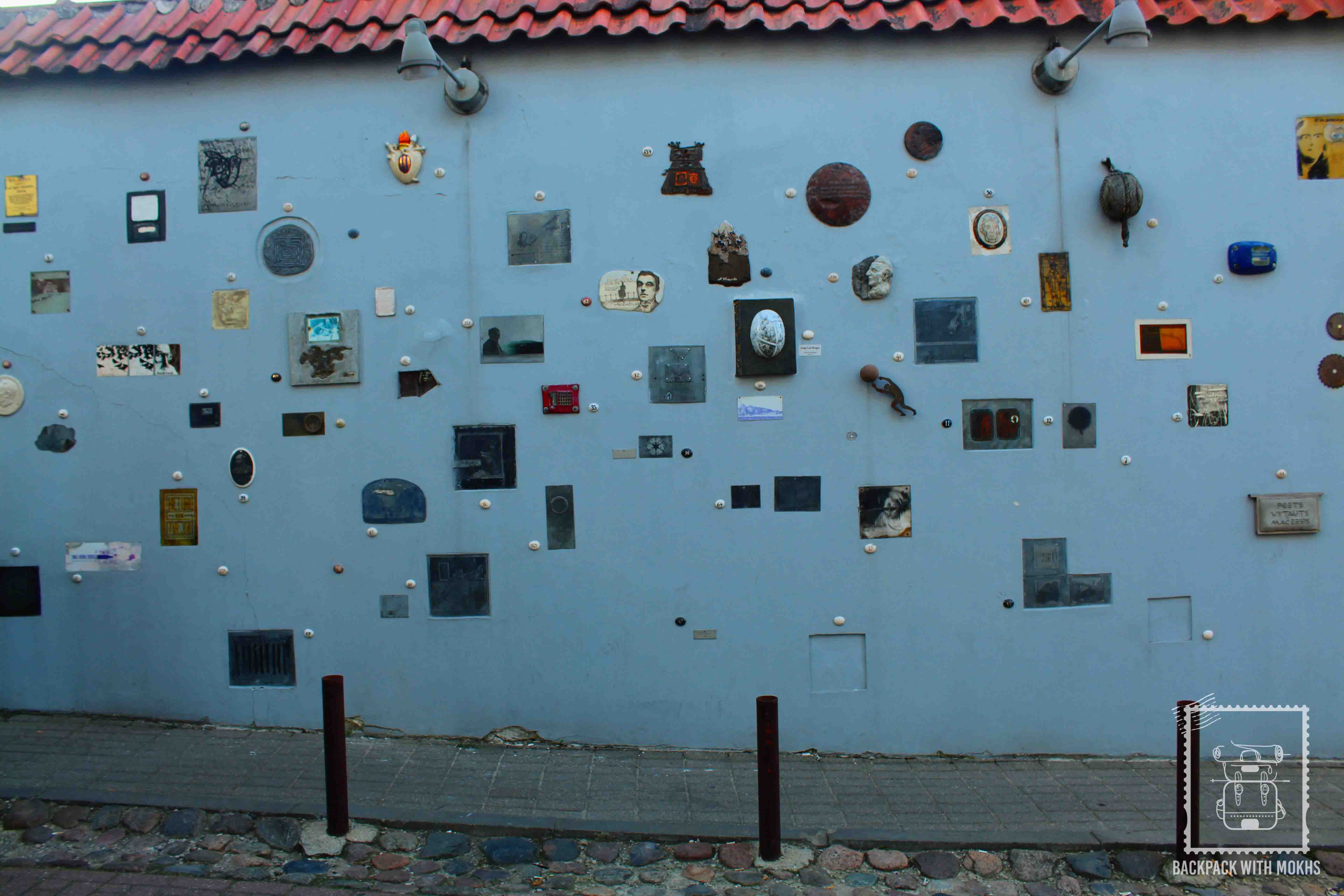Walls of Vilnius paying tribute to the Lithuanian Literary works
